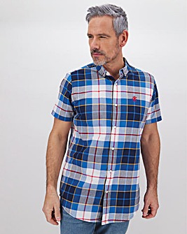 Navy Check Short Sleeve Shirt Long