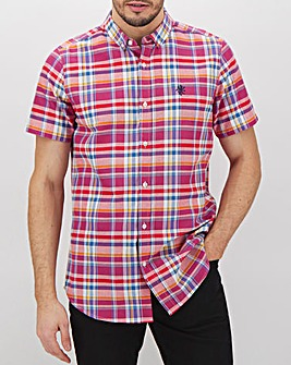Red Check Short Sleeve Shirt Long