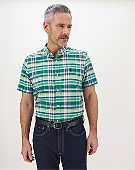Green Check Short Sleeve Shirt Long