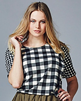 Simply Be Gingham Check Scuba Shell Top