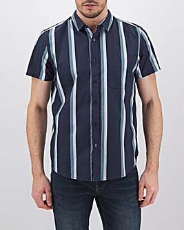 Navy Stripe Short Sleeve Shirt