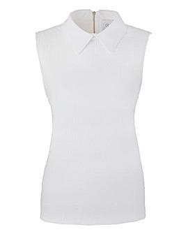 Closet Collared Textured Jersey Top