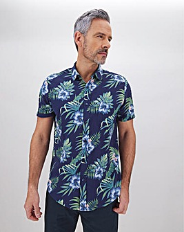 Navy Floral Print Short Sleeve Shirt Long