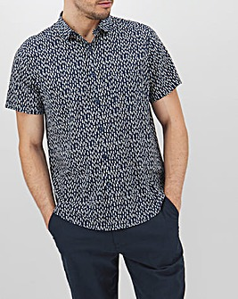 Navy Printed Short Sleeve Shirt Long