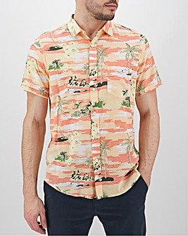 Orange Floral Short Sleeve Shirt Long