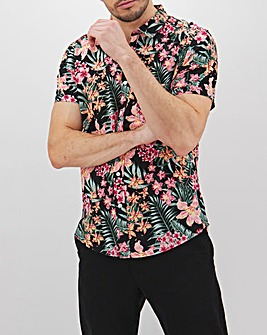 Black Print Short Sleeve Shirt Long