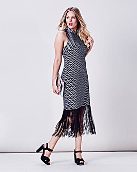 Simply Be Fringed Hem Jacquard Dress