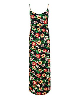 AX Paris Black Floral Strappy Maxi Dress