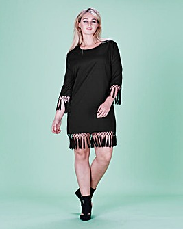 Lavish Alice Tassel Hem Shift Dress