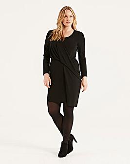 Elvi Black Draped Wrap Dress