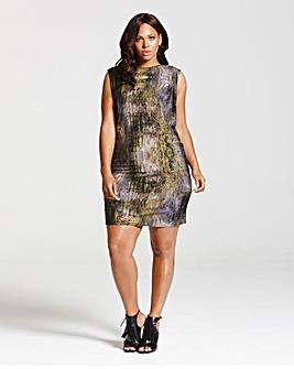 Elvi Marble Print Zip Neck Dress