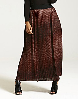 Elvi Snake Print Pleated Skirt