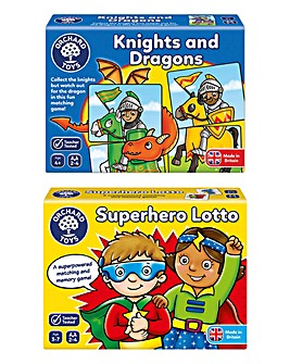 Orchard Toys Save the Day Game Knights and Dragons & Superhero Lotto