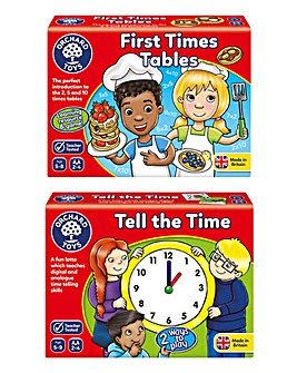 Orchard Toys My First times Tables & Tell the Time 2 Pack Game
