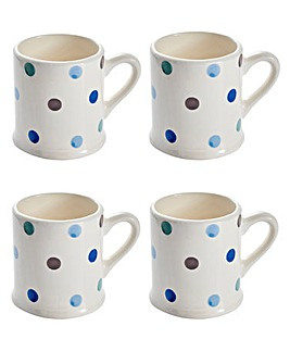 Handpainted Spots Tankard Mug Set of 4