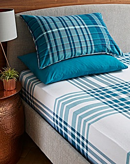Logan Check Brushed Cotton Fitted Sheet