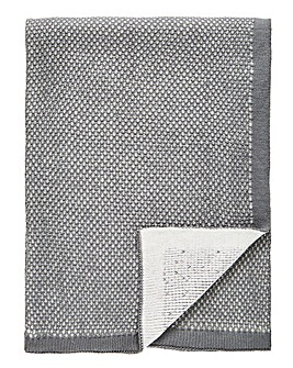 Luxury Jacquard Knit Grey Throw