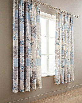Ethel Blue Pencil Pleat Curtains