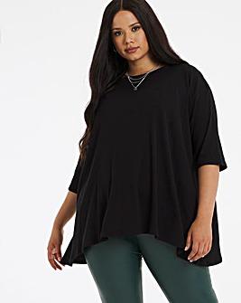 Black Rib Hanky Hem T Shirt