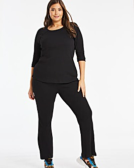 Black Ribbed Flare Leg Trousers