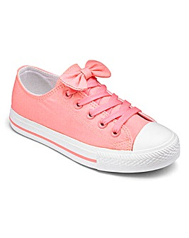 Girls Bow Top Canvas Pumps