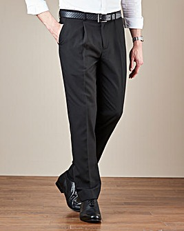 Black Pleat Front Reg Fit Trousers