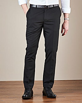 Black Plain Front Reg Fit Trousers