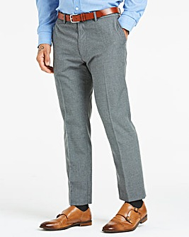 Grey Plain Front Regular Fit Trousers