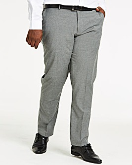 Grey Plain Front Reg Fit Trousers