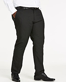Charcoal Plain Front Regular Fit Trousers