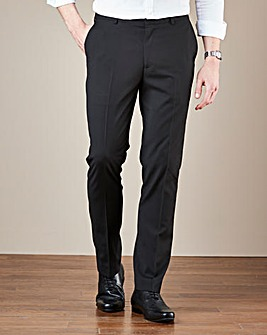 Black Plain Front Regular Fit Trousers
