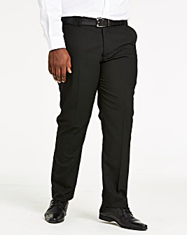 Black Plain Front Regular Fit Stretch Trousers