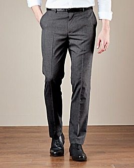 Charcoal Plain Front Stretch Trouser