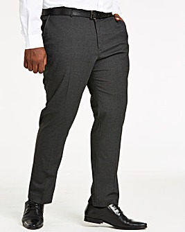 Charcoal Plain Front Regular Fit Stretch Trousers