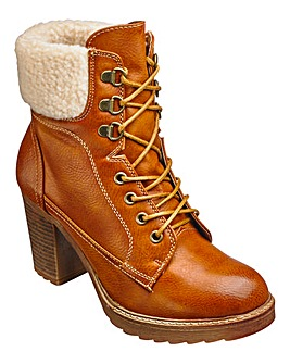 London Rebel Lace up Boots Wide E Fit