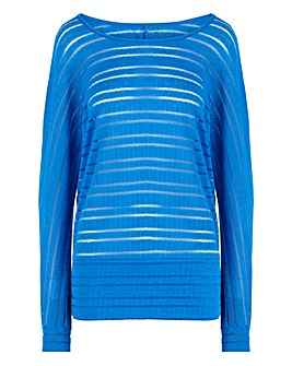 Bright Blue Cut & Sew Sheer Stripe Top
