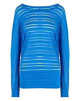 Bright Blue Cut & Sew Sheer Stripe Top
