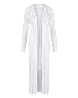 White Cut & Sew Sheer Longline Cardigan