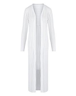 White Cut & Sew Sheer Longline Cardigan
