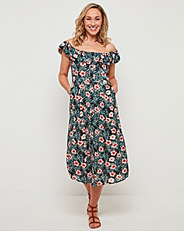 Joe Browns Palm Print Bardot Dress