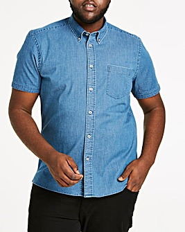 Stretch Denim Short Sleeve Shirt Long