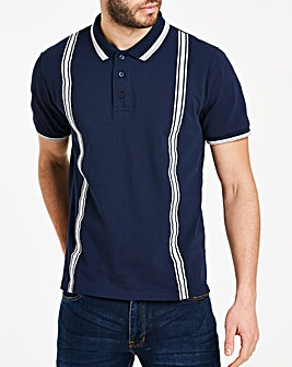 Taped Detail Navy Polo L