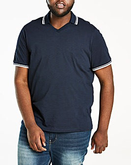 Slub Fabric Trophy Neck Navy Polo R