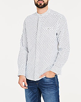 Ditsy Grandad Collar Long Sleeve Shirt Long