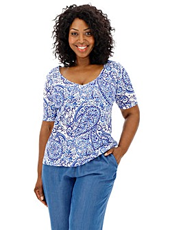 Paisley Value Cotton Half Sleeve T-Shirt