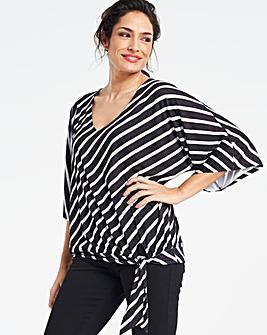 Mono Stripe Kimono Sleeve Top