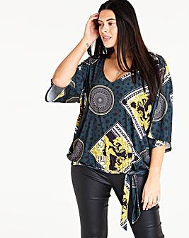 Scarf Print Kimono Sleeve Top