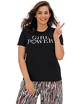 Girl Power Embroidered Slogan Tee