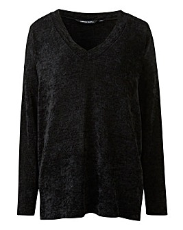 Black V Neck Chenille Jumper