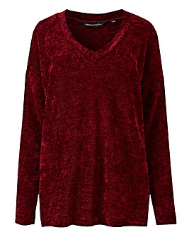 Burgundy V Neck Chenille Jumper